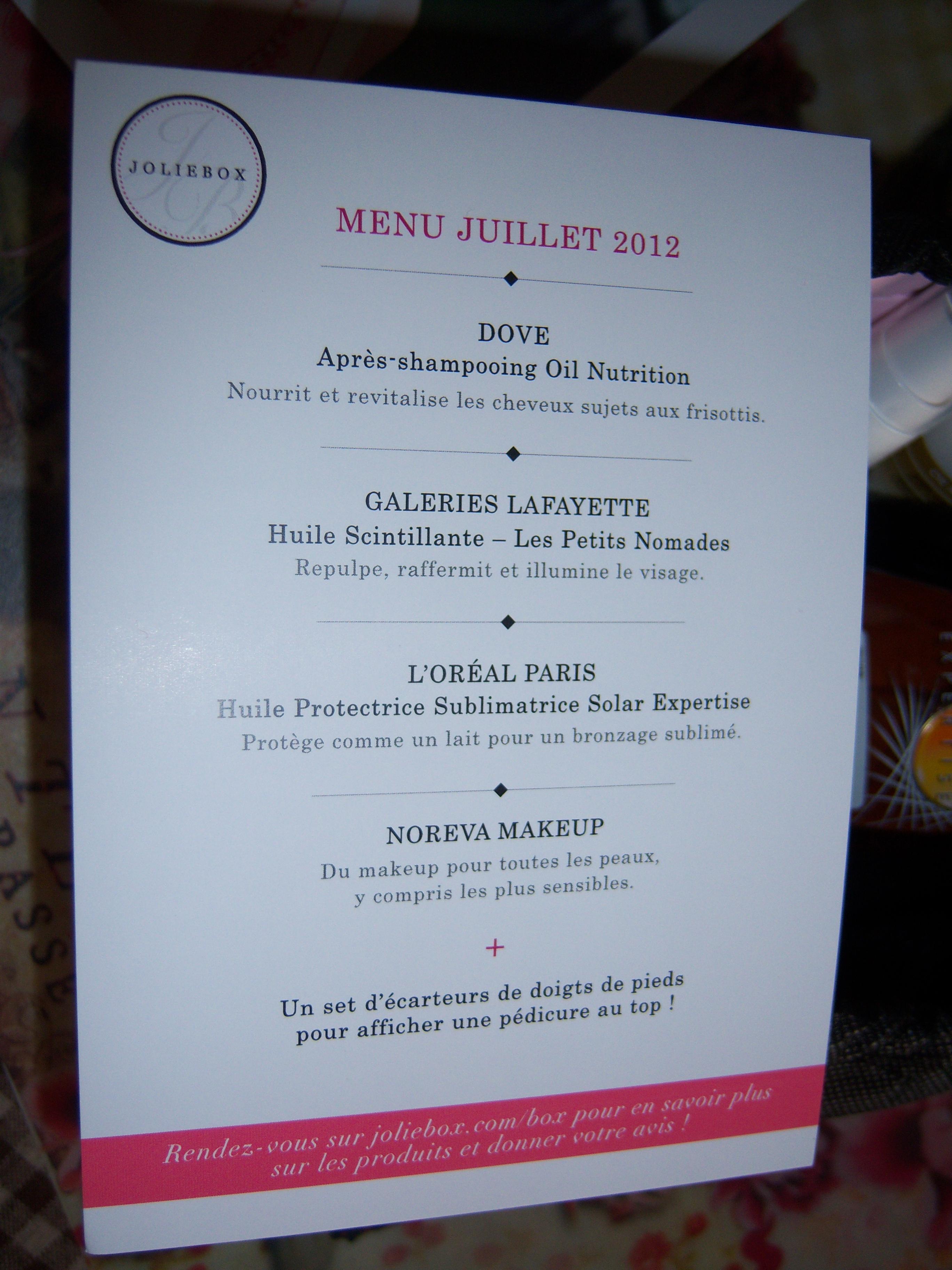 *** Le menu de la JolieBox de juillet ***