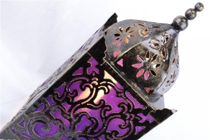 lampe-lanterne-tissu-violet-et-fer-forgé-ciselé-