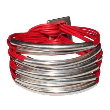 bracelet-femme-cordon-coton-cire-multi-tubes-rouge-vif