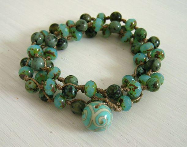 bracelet 3 tours en turquoise africaine
